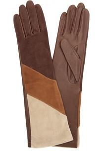 Удлиненные кожаные перчатки с отделкой из замши Agnelle