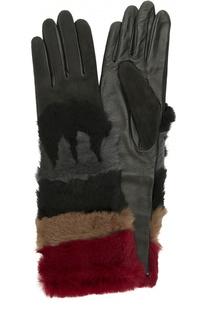 Кожаные перчатки с отделкой из меха кролика и замши Agnelle