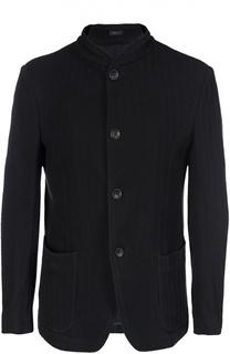 Однобортный пиджак из смеси хлопка и шерсти Armani Collezioni