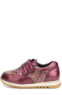 Кожаные кроссовки с текстильной вставкой Clarys