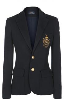 Приталенный жакет с контрастными пуговицами и вышивкой Polo Ralph Lauren