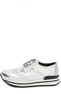 Кроссовки из металлизированной кожи с перфорацией Simonetta