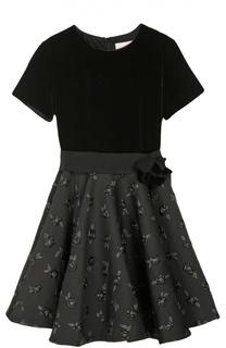 Платье с декорированной юбкой Lanvin