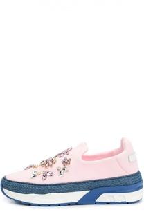 Текстильные кроссовки с джутовым кантом и кристаллами Dolce & Gabbana