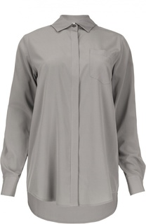 Удлиненная шелковая блуза с накладным карманом DKNY