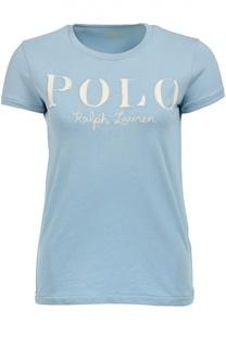 Хлопковая приталенная футболка с логотипом бренда Polo Ralph Lauren