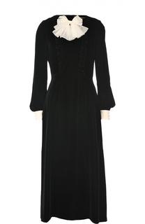 Бархатное платье-рубашка с контрастным бантом Saint Laurent