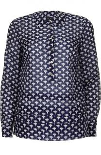 Хлопковая блуза прямого кроя с контрастным принтом Diane Von Furstenberg