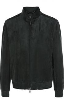 Замшевая куртка-бомбер с воротником-стойкой Brioni