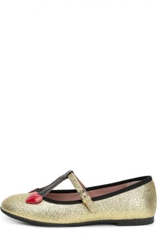 Туфли с глиттером и декором Gucci