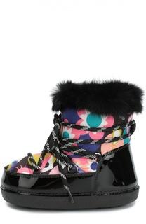 Комбинированные сапоги с принтом на шнуровке Fendi Roma