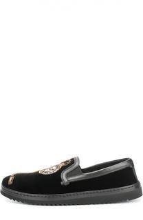 Бархатные слипоны Mondello с вышивкой Dolce & Gabbana