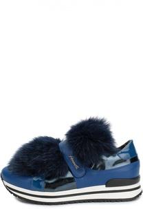 Кожаные кроссовки с меховой отделкой Simonetta