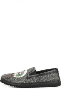 Шерстяные слипоны Mondello с аппликацией Dolce & Gabbana
