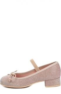 Текстильные туфли с бантом на устойчивом каблуке Pretty Ballerinas