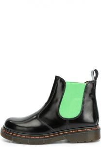 Кожаные ботинки с контрастной вставкой Gallucci