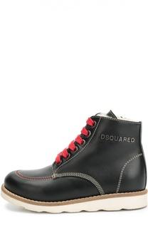 Кожаные ботинки с прострочкой Dsquared2