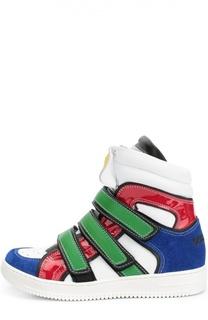 Высокие кожаные кроссовки с замшевой отделкой Dsquared2
