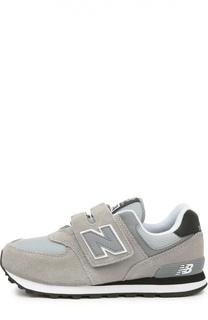 Замшевые кроссовки 574 с сетчатыми вставками New Balance