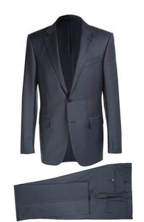 Приталенный шерстяной костюм в клетку Ermenegildo Zegna