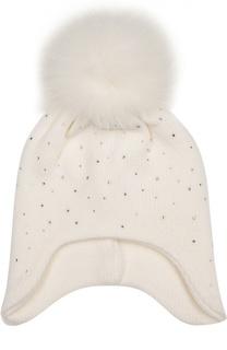 Вязаная шапка со стразами и отделкой из меха Il Trenino