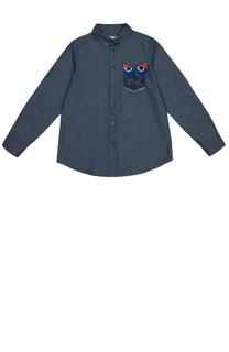 Джинсовая рубашка с нашивками Fendi Roma