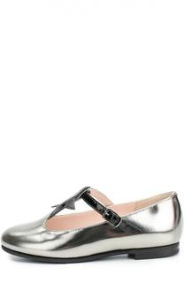 Туфли из металлизированной кожи с аппликацией Il Gufo