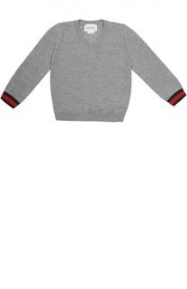 Пуловер из шерсти с контрастными манжетами Gucci