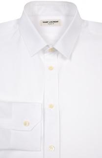 Хлопковая сорочка с итальянским воротником Saint Laurent