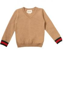 Пуловер джерси с контрастными манжетами Gucci