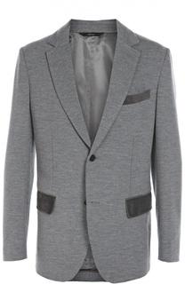Шерстяной однобортный пиджак с отделкой из натуральной замши Brioni