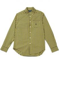 Хлопковая рубашка в клетку с воротником button down Polo Ralph Lauren