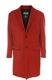 Шерстяное однобортное пальто MSGM