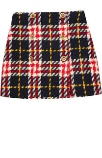 Шерстяная юбка в клетку с декоративными пуговицами Gucci