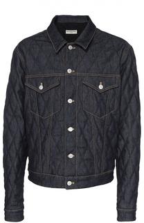 Стеганая джинсовая куртка с контрастной отстрочкой Balenciaga