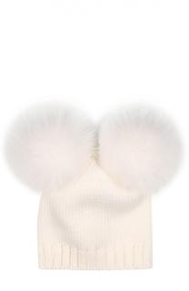Шерстяная шапка с помпонами из меха лисы Catya