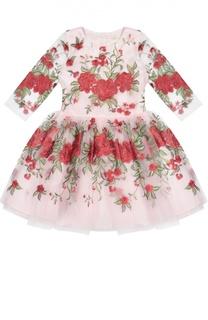 Платье с длинным рукавом и цветочной вышивкой David Charles
