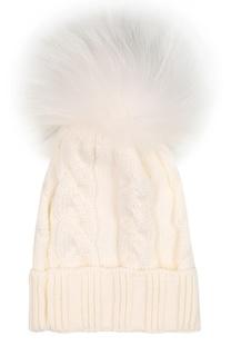 Шапка фактурной вязки с меховым помпоном Catya