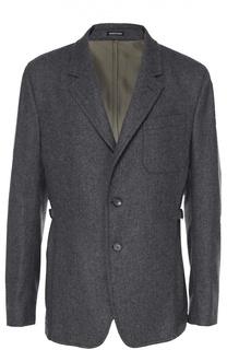 Шерстяной однобортный пиджак с отделкой из смеси хлопка и шелка Alexander McQueen