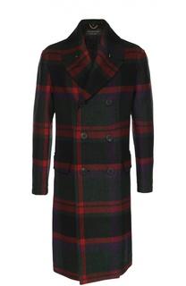 Шерстяное двубортное пальто в клетку Burberry Prorsum