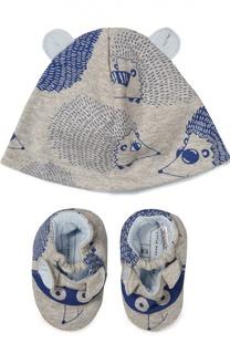 Хлопковый комплект из шапки и пинеток Marc Jacobs