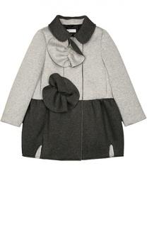 Пальто с отложным воротником и контрастной отделкой I Pinco Pallino