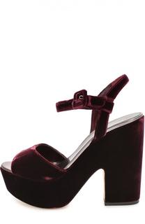 Бархатные босоножки на массивном каблуке Le Silla