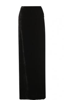 Бархатная юбка-макси с высоким разрезом Dries Van Noten