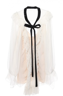 Полупрозрачная шелковая блуза с оборками и контрастной отделкой Chloé