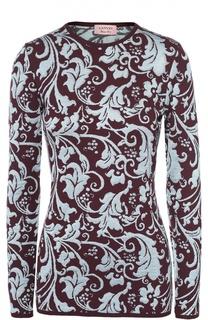 Облегающий пуловер с круглым вырезом и контрастным принтом Lanvin