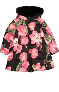 Пальто с цветочным принтом и меховой отделкой Dolce & Gabbana