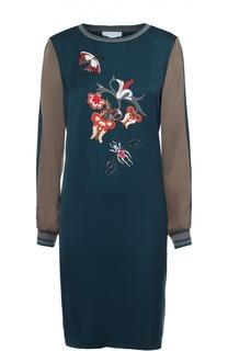 Платье прямого кроя с контрастной вышивкой Escada Sport