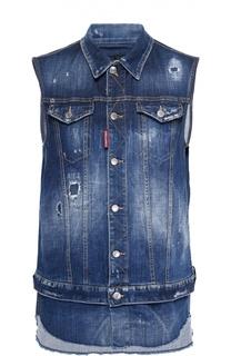 Удлиненный джинсовый жилет с необработанным краем Dsquared2