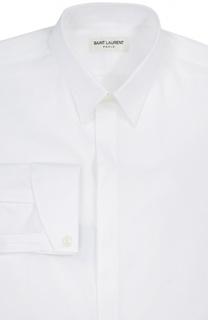 Хлопковая сорочка с итальянскими воротником Saint Laurent